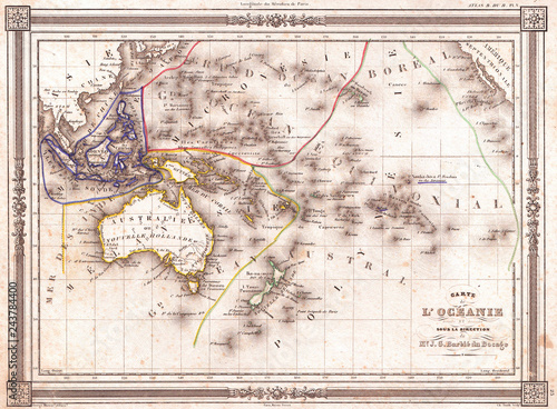 Recess Fitting World Map 1852, Bocage Map of Australia and Polynesia