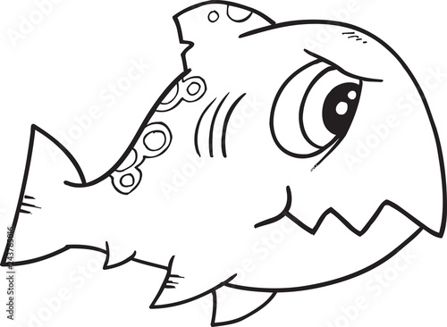 Spoed Foto op Canvas Cartoon draw Tough Monster Shark Fish Vector Illustration Art