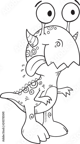 Spoed Foto op Canvas Cartoon draw Happy Silly Monster Coloring Page Vector Illustration Art