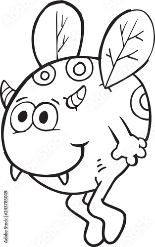 Tuinposter Cartoon draw Happy Silly Monster Coloring Page Vector Illustration Art