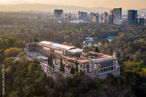 Foto op Plexiglas Cappuccino Mexico City, Aerial View of Chapultepec Castle at Sunset