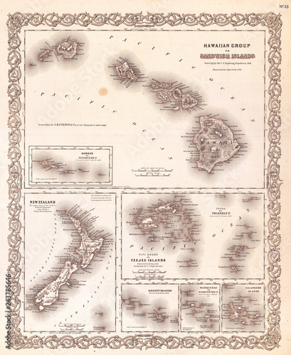 1855, Colton Map of Hawaii and New Zealand Wallpaper Mural