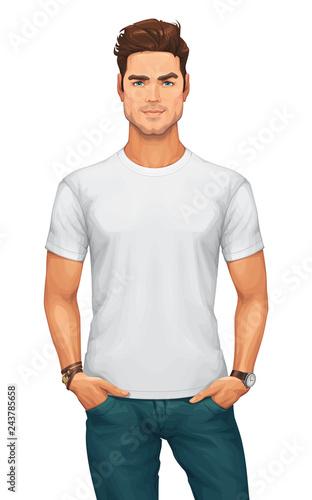 Stampa su Tela  Man Wearing a Blank White T-Shirt