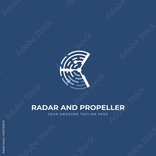 Canvastavla Radar and propeller uav drone logo icon symbol with blue navy background