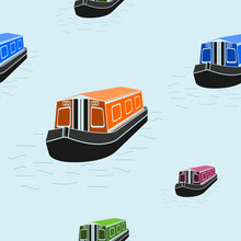Editable Flat Style Canal Boat...