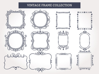 Vintage Frames Set. Vector illustration Template