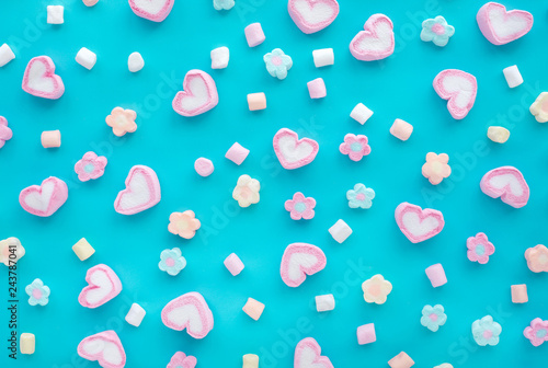 Poster Candy Colorful marshmallow.Party and celebration.decorative background texture.Flat lay