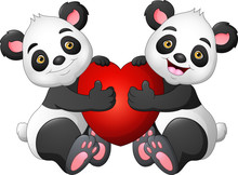 Cartoon Couple Panda With A Red Heart