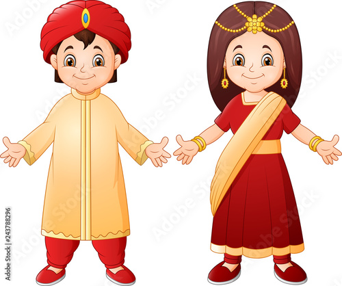 Photo  Cartoon Indian couple wearing traditional costume