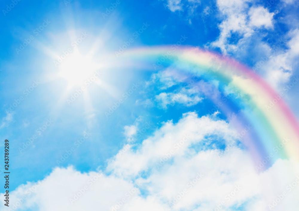 Fototapeta 青空と太陽に伸びる虹