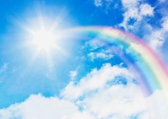 青空と太陽に伸びる虹