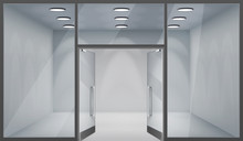 Store Front Open Doors 3d Shop Empty Interior Realistic Windows Space Template Mockup Background Vector Illustration