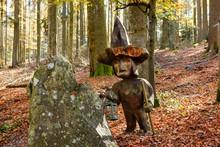 Jackl Figurine At The Brotjacklriegel, Region Sonnenwald, Bavarian Forest, Lower Bavaria, Bavaria, Germany, Europe