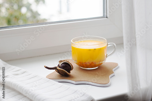 Fotografia  Hot beverage from seabuckthorn stands on the windowsill