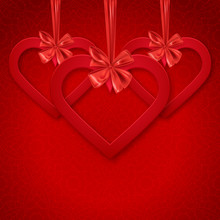 Happy Valentine's Day Decoraive Postcard Banner With Red Hearts And Decorative Ribbon Bow, Vector Illustration