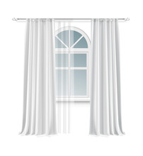 Vector Illustration Of Arch Window With Long Pair White Curtains Hanging On Rod Isolated On Background
