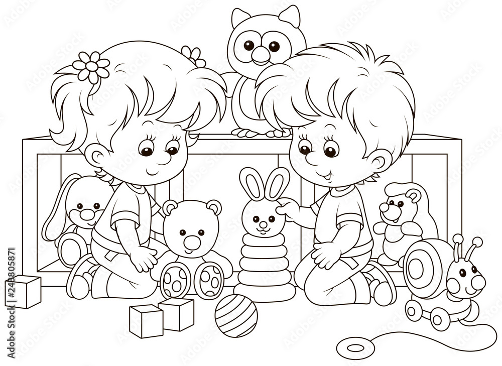 Fototapeta Small children playing with toys in a nursery, black and white vector illustration in a cartoon style for a coloring book
