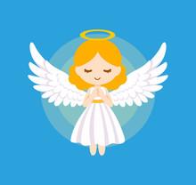 Cute Angel Bless Vector Illust...
