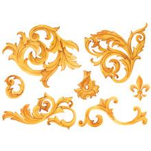 Golden Baroque Rich Luxury Vector Elements