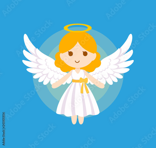 Canvas Print Cute angel bless vector illustration.