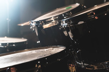 Closeup View Of A Drum Set In ...