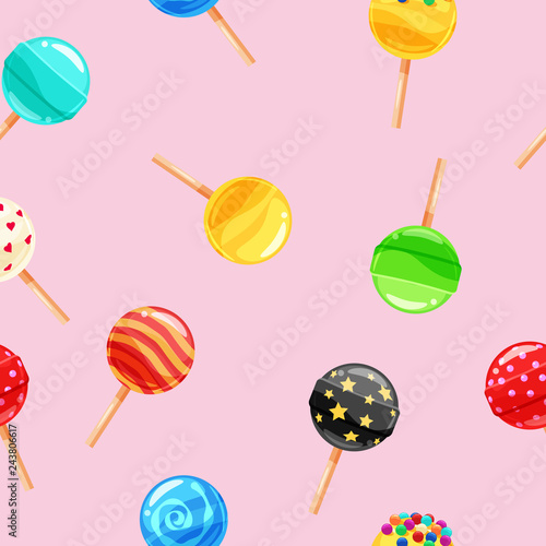 Photographie  Seamless pattern colored candy lollipop, caramel on stick