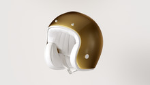 White And Gold Helmet 3d Illustration 3d Render