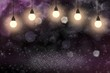 nice sparkling glitter lights defocused bokeh abstract background with light bulbs and falling snow flakes fly, festal mockup texture with blank space for your content