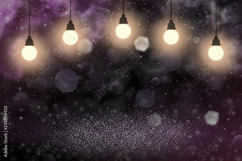 Fototapeta nice sparkling glitter lights defocused bokeh abstract background with light bulbs and falling snow flakes fly, festal mockup texture with blank space for your content obraz na płótnie