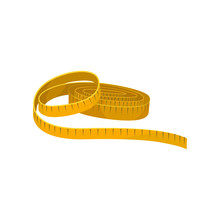 Yellow Sewing Tape Measure. Instrument For Measuring Length. Flat Vector For Promo Poster Of Tailoring Atelier