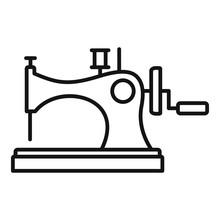 Vintage Sew Machine Icon. Outl...