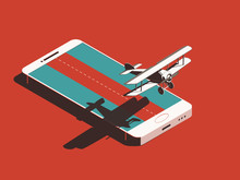 Airline Plane With Smart Phone. Flying From Display Of Smartphone With Shadow. Isometric Illustration For Different Projects About Airplanes, For Advertisment, Invitations, Magazines