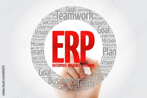 Fotografie, Obraz  ERP - Enterprise Resource Planning word cloud with marker, business concept