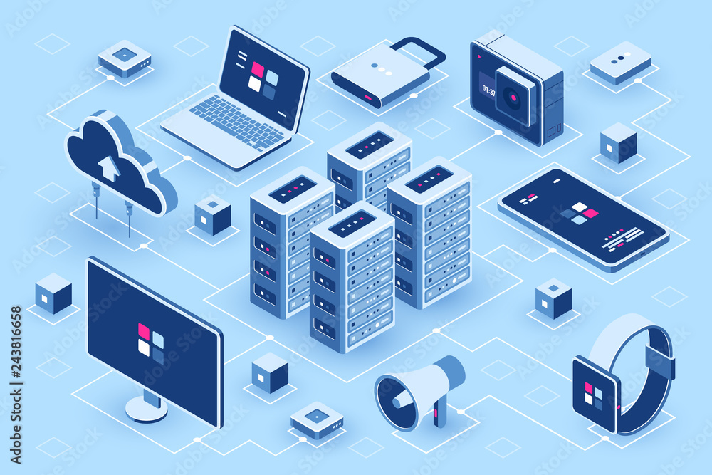Fototapeta Computer technology isometric icon, server room, digital device set, element for design, pc laptop, mobile phone with smartwatch, cloud storage, flat vector