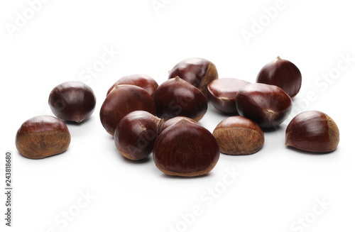 Valokuva  Edible chestnuts isolated on white background