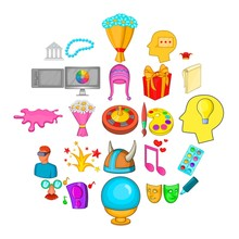 Creative Fun Icons Set. Cartoon Set Of 25 Creative Fun Vector Icons For Web Isolated On White Background