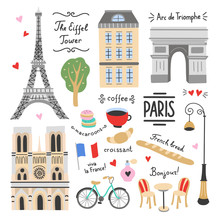 Paris Vector Set On White Background. French Symbols And Icons. Visit Paris Illustrations: Architecture, The Eiffel Tower, Parisian Cafe, Bicycle