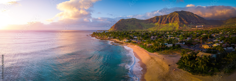 Fototapeta Aerial panorama of the West coast of Oahu, area of Papaoneone beach. Hawaii, USA