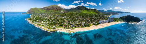 Fotografie, Obraz  Aerial panorama of the west coast of Oahu with Makaha Valley and Papaoneone beach