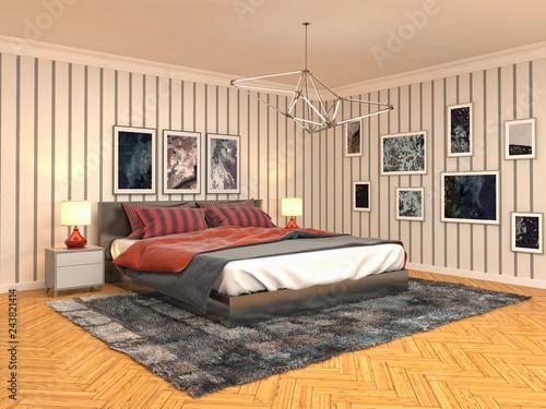 Foto op Canvas Restaurant Bedroom interior. 3d illustration