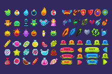 Collection Of Colorful User Interface Assets For Mobile Apps Or Video Games, Funny Creatures, Animals, Sweets, Weapon, Buttons Vector Illustration