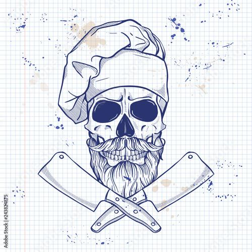 Fotomural Hand drawn sketch, color skull
