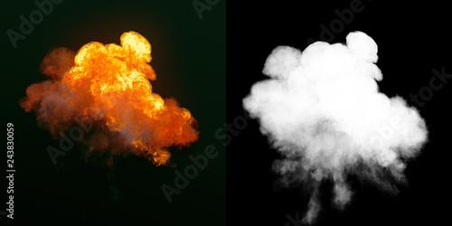 Obraz na plátne Large explosion with black smoke in dark plus alpha channel