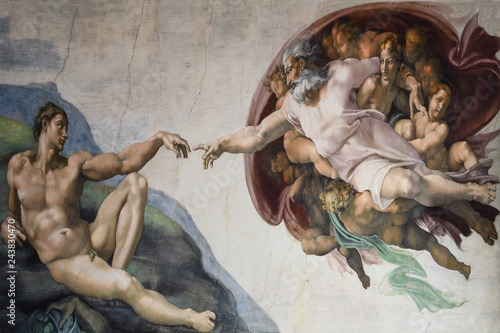 Rome Italy March 08 creation of Adam by Michelangelo Canvas Print