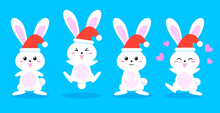 Happy New Year And Merry Christmas Invitation Card Rabbit Cartoon Character