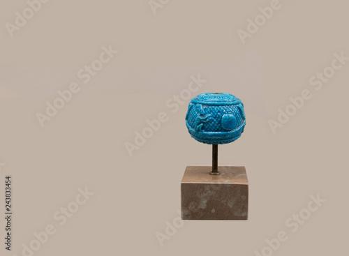 Photo  Ancient Egyptian decorative bright blue knob