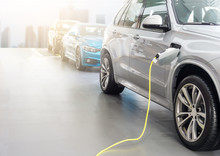 EV Car Or Electric Car At Char...