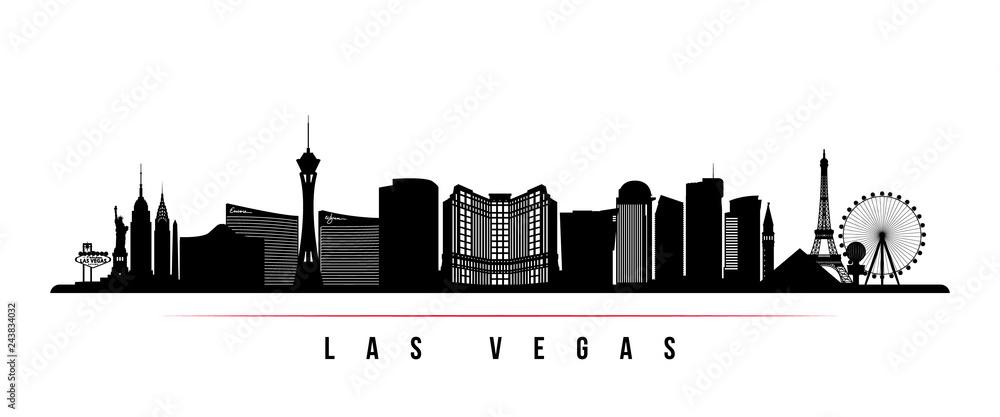 Fototapeta Las Vegas city skyline horizontal banner. Black and white silhouette of Las Vegas city, USA. Vector template for your design.