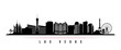 Las Vegas city skyline horizontal banner. Black and white silhouette of Las Vegas city, USA. Vector template for your design.