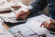 Businessman Using Calculator For Calculate Budget. Concept Finance